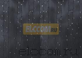 """Гирлянда """"Светодиодный Дождь"""" 2х3м, постоянное свечение, черный провод, 220В, диоды БЕЛЫЕ, NEON-NIGHT"""